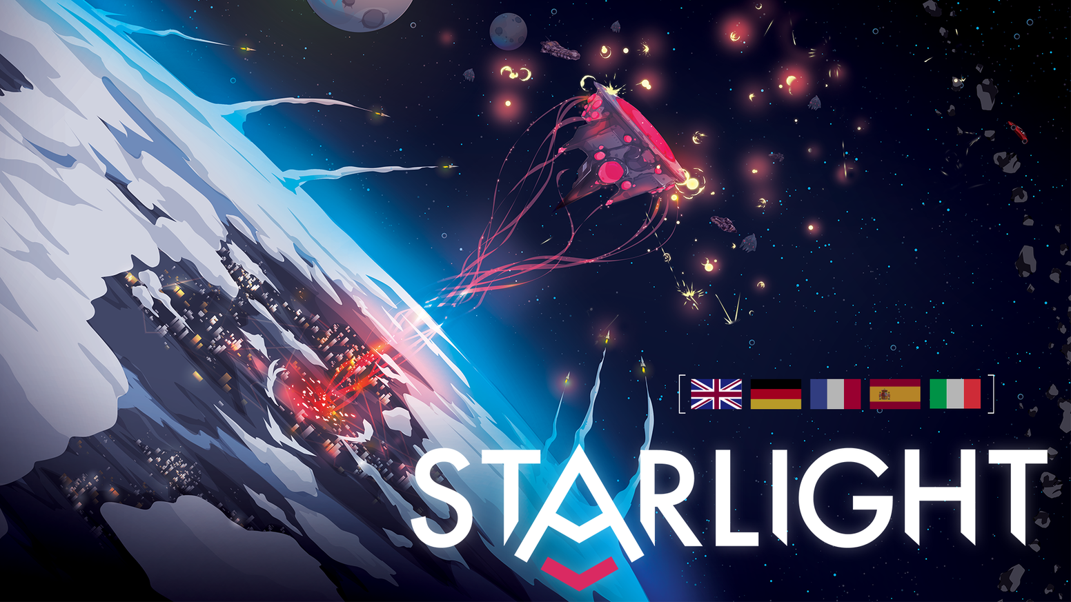 Starlight is a solo/cooperative campaign game for 1-4 players where you fight in space battles and explore a mysterious universe.