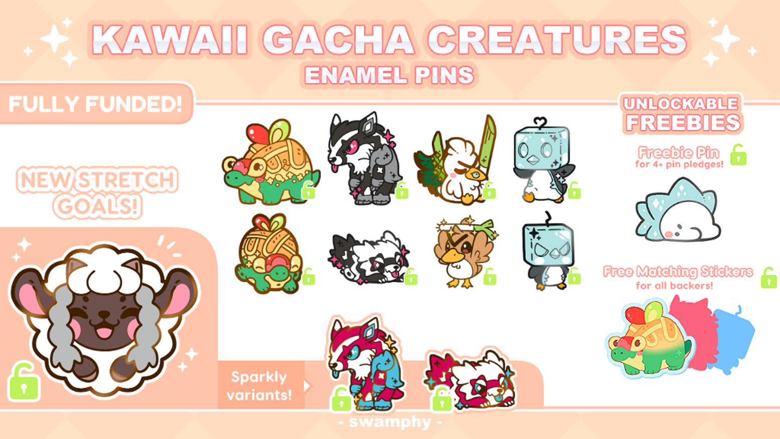 +.º✧ A collection of a variety of creatures in the form of cute & expressive little enamel pins! ✧º.+