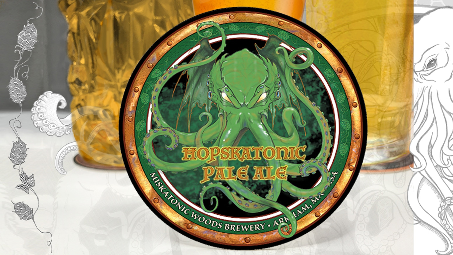 Cthulhu Art Drink Coaster 2. Inspired by H.P. Lovecraft and the Ancient Ones. $1 each. Made in the USA
