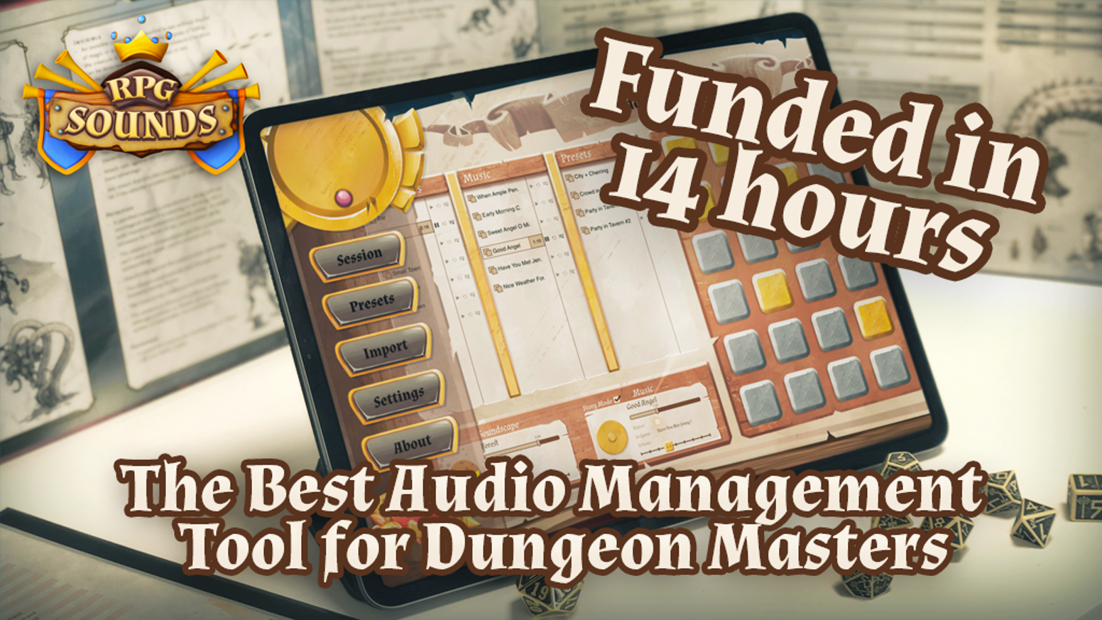 Bring your Tabletop sessions to life. Immersive auditive experiences for Dungeon Masters and Players at your fingertips.