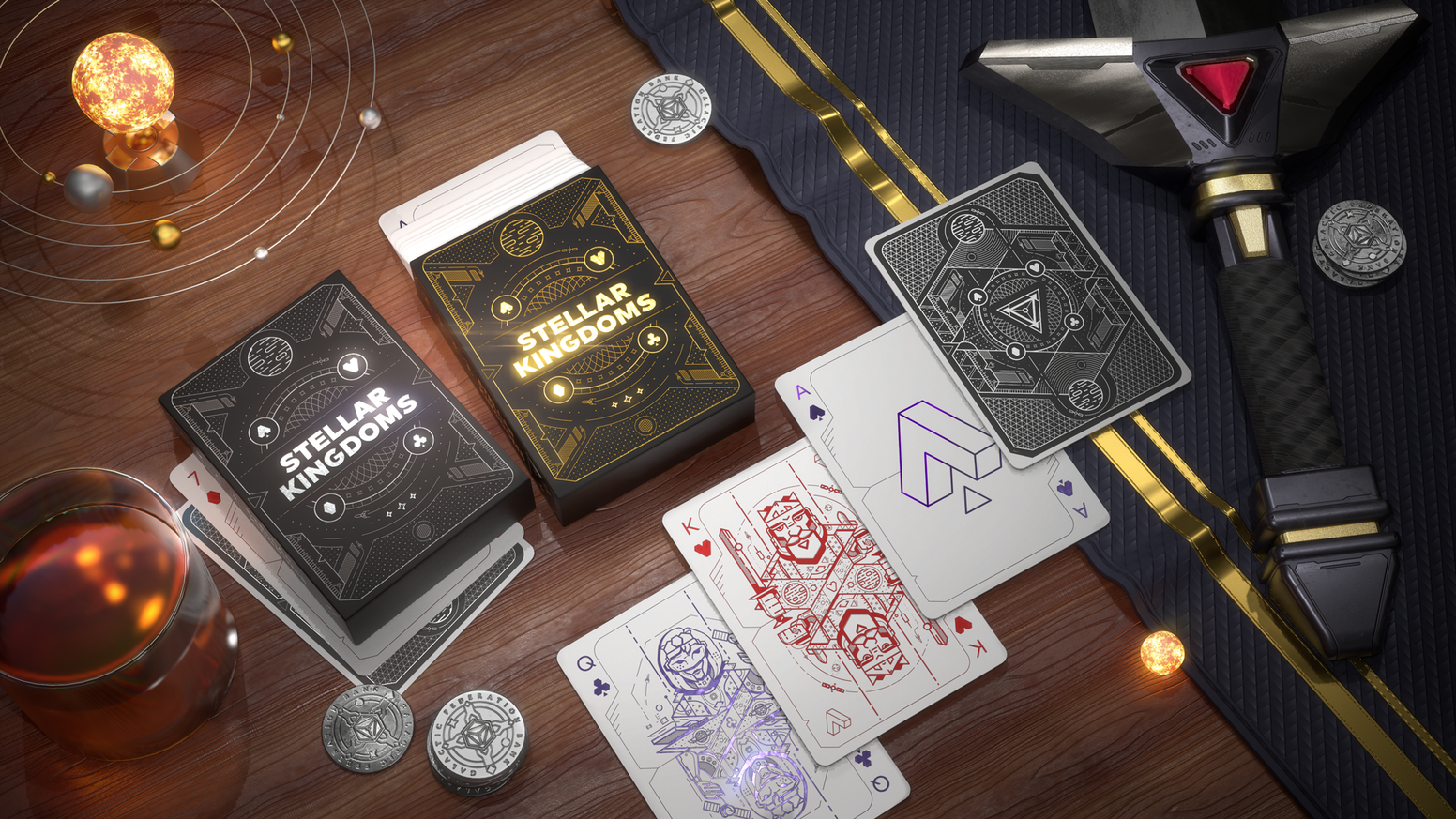 Unique playing cards set in their own Sci-Fi universe based on the known tropes of adventure movies, games and novels