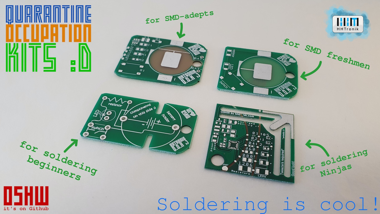 Easy to (very) challenging soldering kits to keep you busy these days. Soldering is cool!