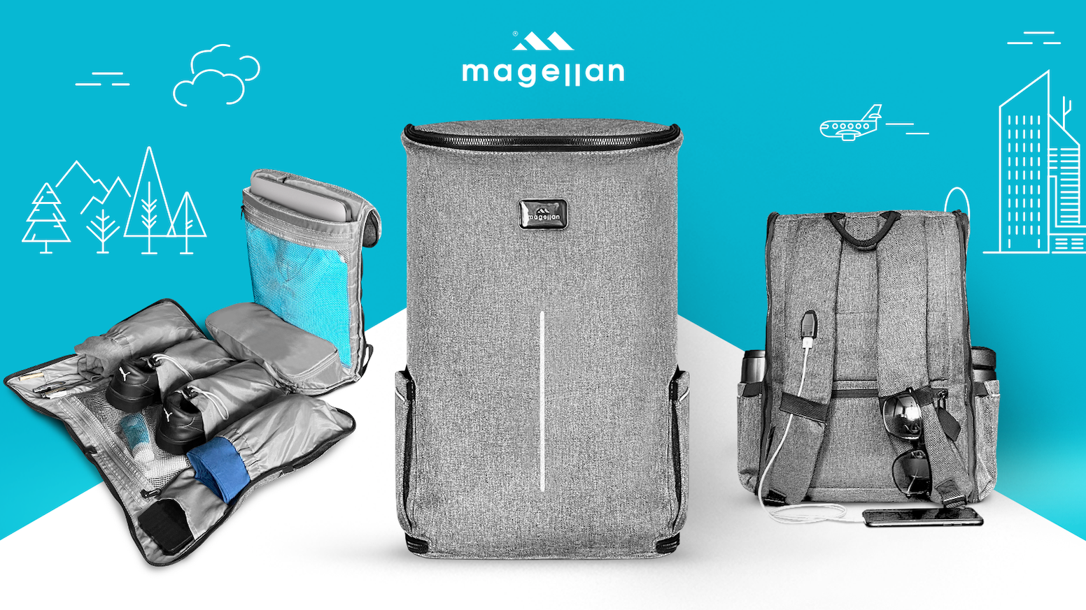 Magellan Backpack is your new favorite travelling companion that helps you archive (YES-YES just like a WinRar) everything you need