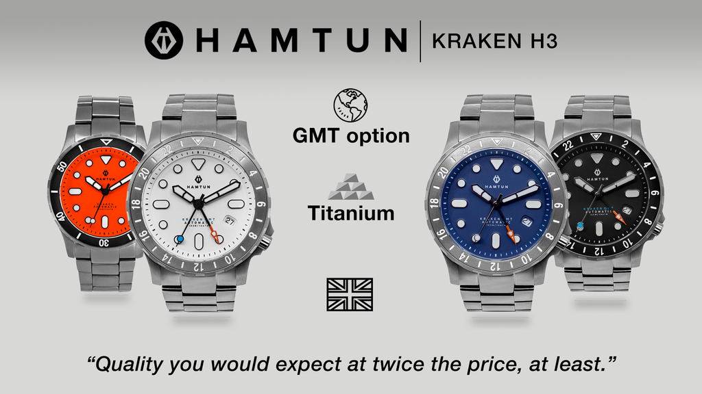 Hamtun Kraken H3. A titanium watch for everyone, every day. project video thumbnail