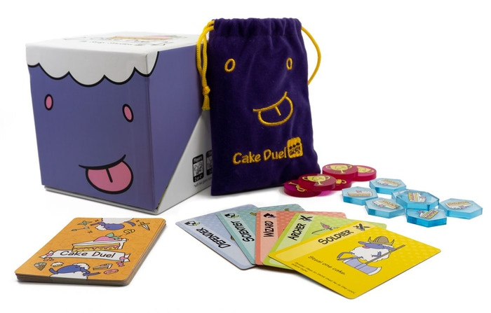 "Cakestart this deceptively simple card game for 2 players. Fight and fleece in equal measure to become the next ""King of Cakes."""