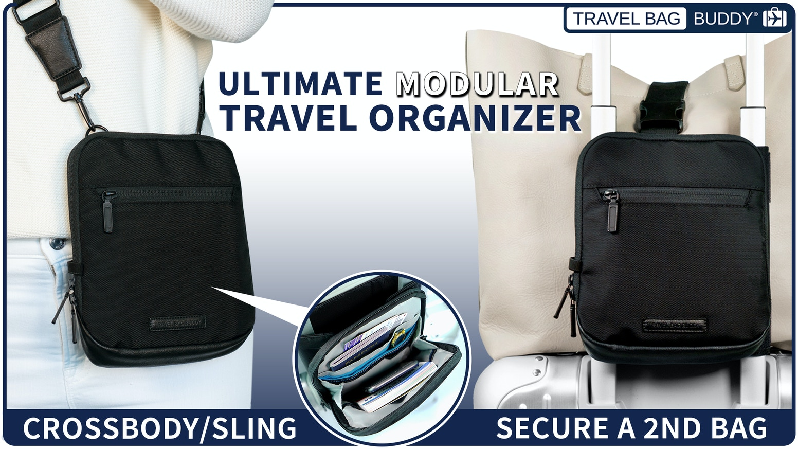 Easily pull two bags, speed through airport security & keep your items accessible on the go.