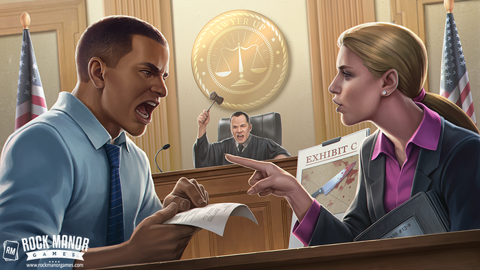 An asymmetrical card game for 2 players where one player is the noble prosecution and the other the steadfast defense
