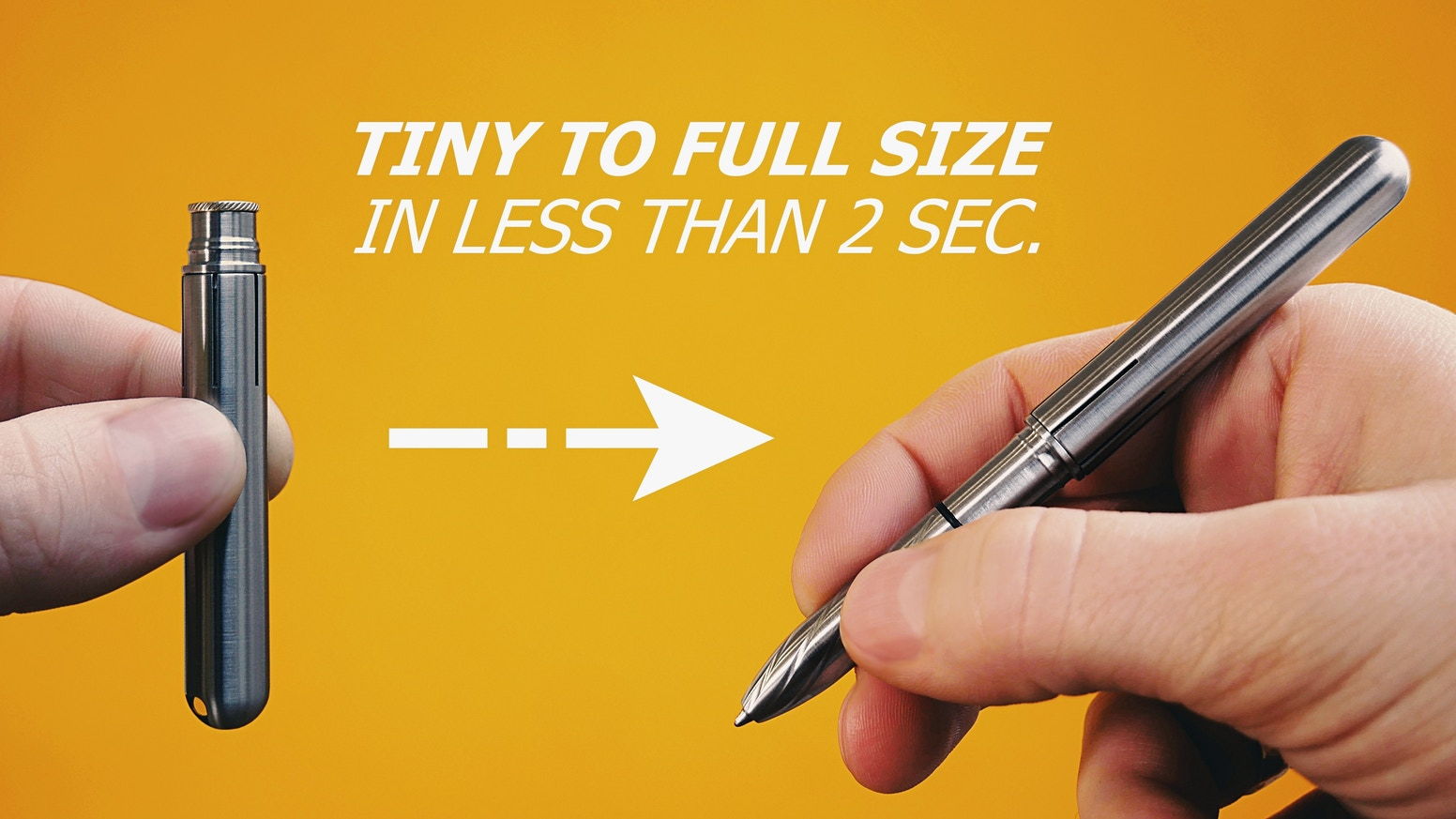 Pocket size pen that instantly transforms into convenient full size pen. Smaller than a pinkie, fits in any pocket or by your keys