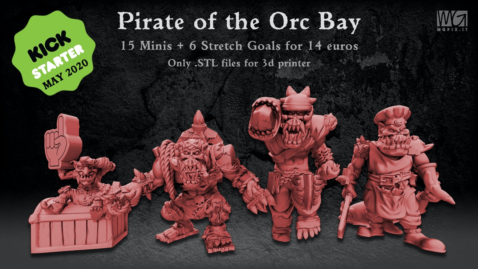 Pirate Orc themed miniatures for Collectors or Blood Bowl players! Only STL files for 3d printer