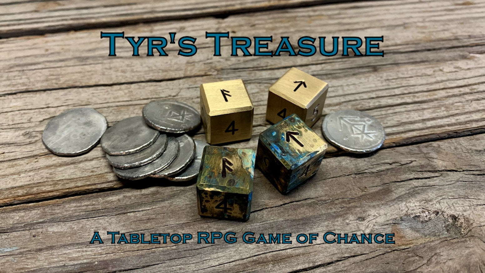 Tyr's Treasure is a fantasy tavern game featuring hand crafted brass dice and pewter treasure coins.
