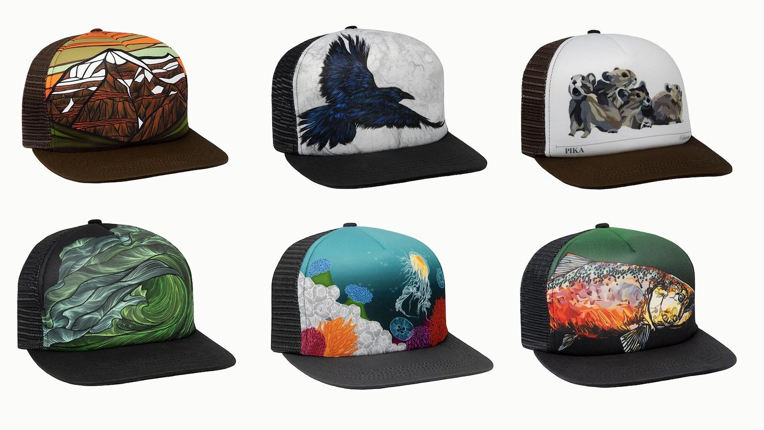 Hand drawn, organic cotton, made in Canada, snapback trucker hats.