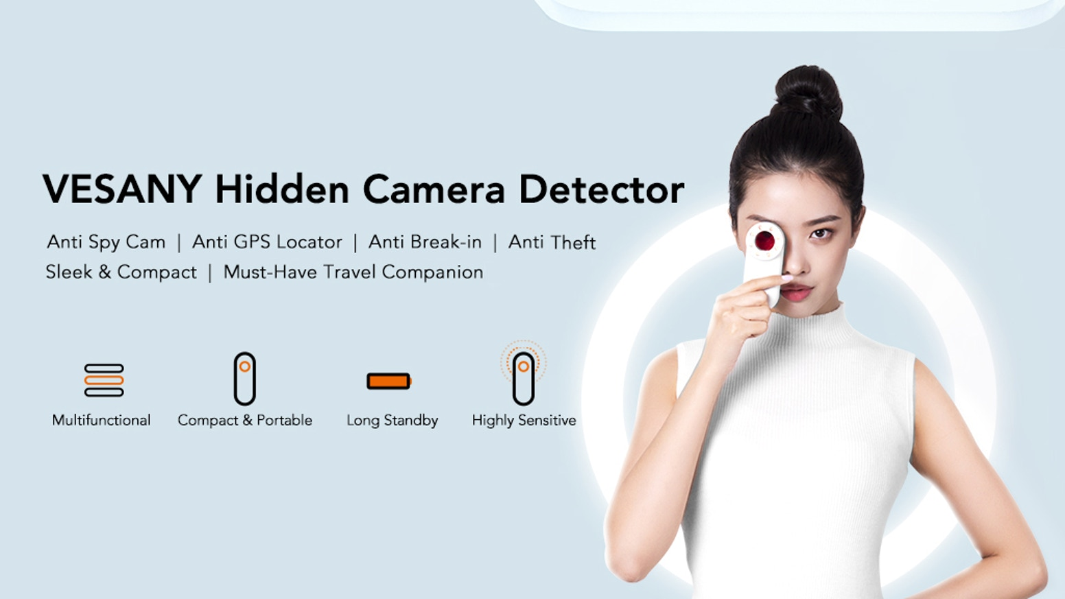 Anti Spy Cam | Anti GPS Locator | Anti Break-in | Anti Theft | Sleek & Compact | Must-Have Travel Companion