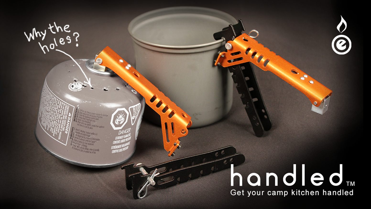 "Handled: camping pot gripper and fuel canister recycle tool - because you have your camp kitchen ""handled"""