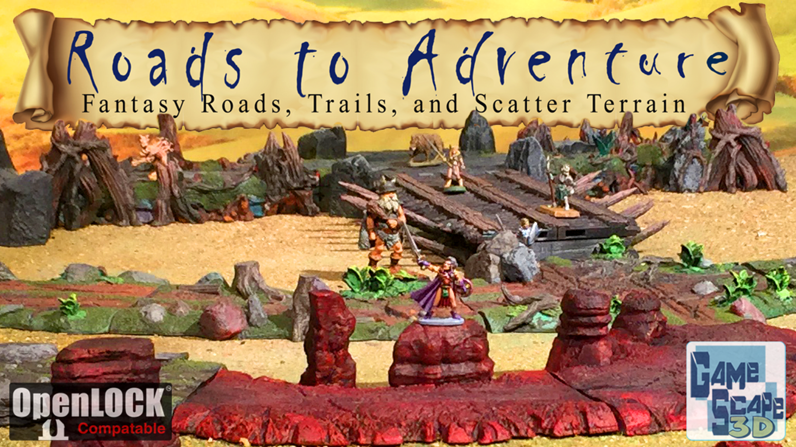 STL Files for 3D Printable Fantasy Roads, Trails, and Scatter Terrain for Tabletop Gaming. 4 unique road styles w/ OpenLOCK connectors
