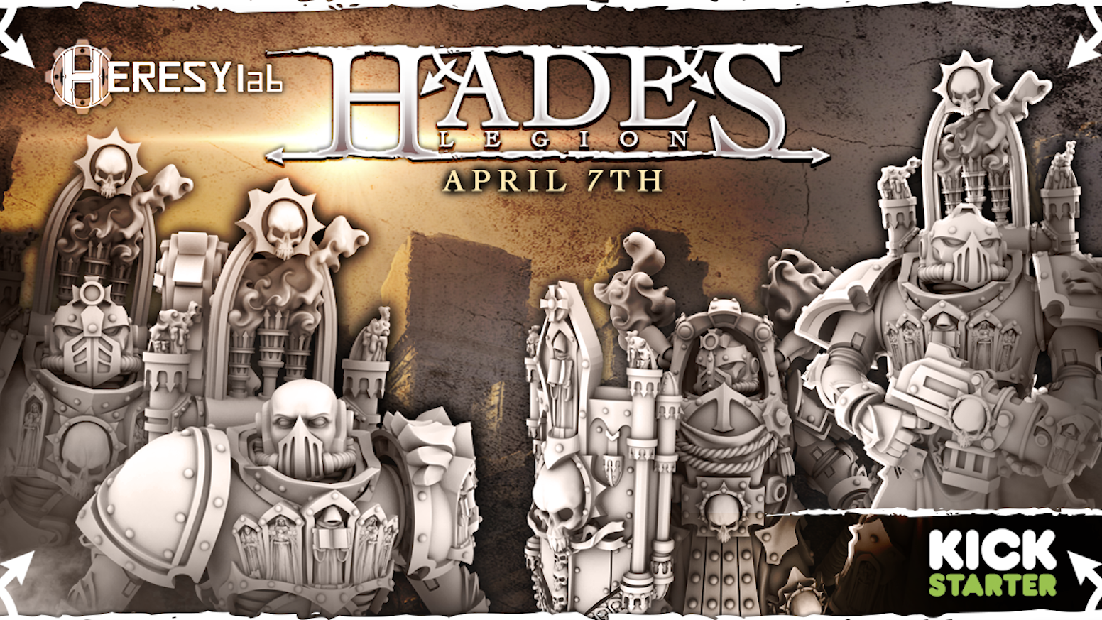 The Hades Legion 28mm heroic resin miniatures by HeresyLab - Miniatures, bikes, tanks and support weapon platforms plus many bits