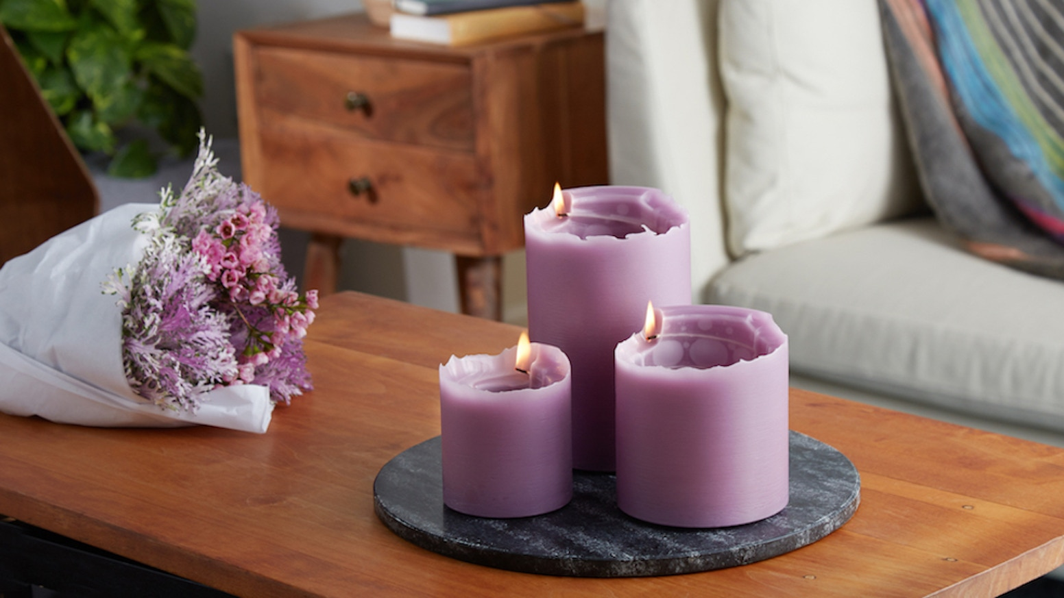 Clean burning, long lasting candles that burn in a fun circular direction.
