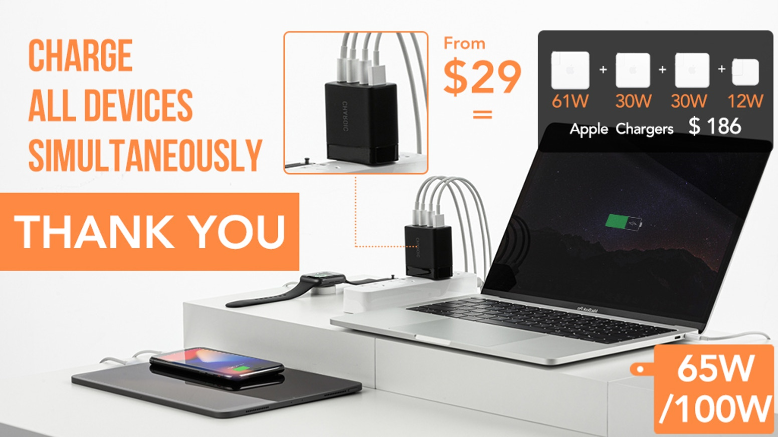 Quick Charging 4 Devices | 3 USB-C & 1 USB-A | Support All Fast Charging Protocols | 100W & 65W Versions | International Pins Supported
