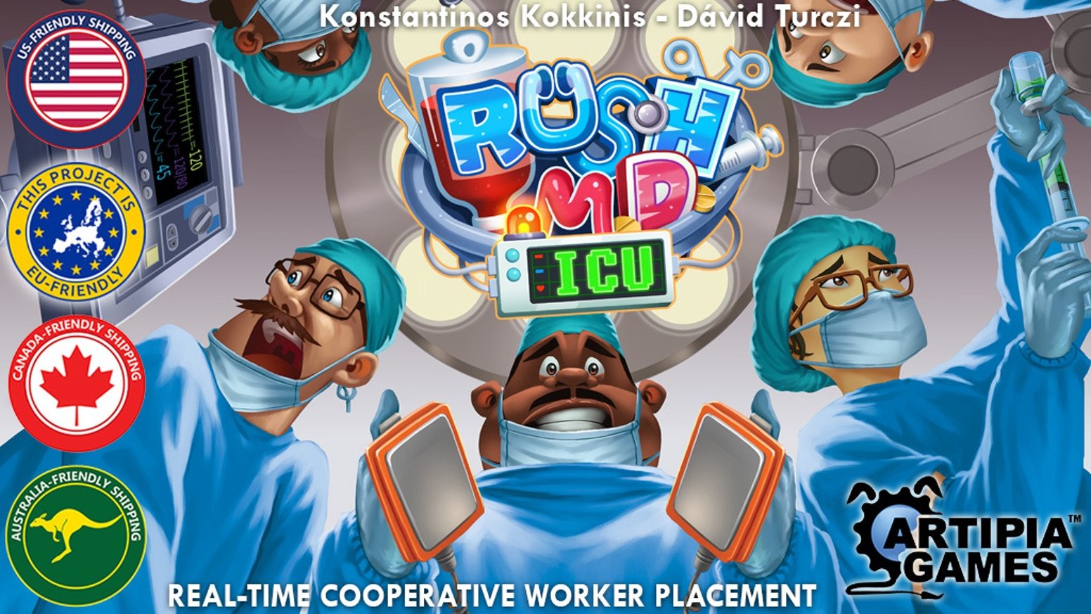 Rush M.D. , the cooperative real-time worker placement boardgame is back with an Intensive Care Unit expansion!