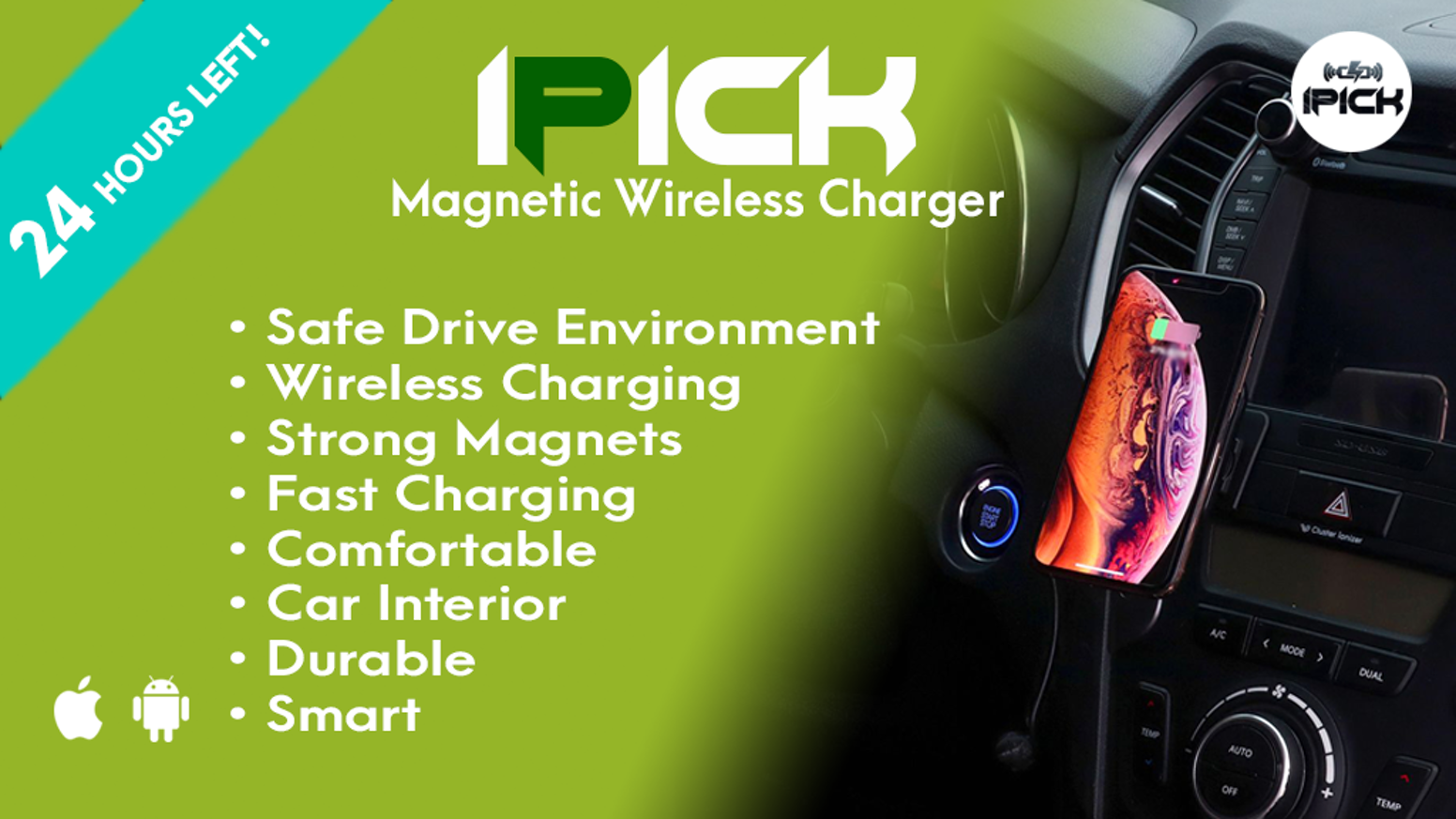 Fast Wireless Charger, Strong Neodymium Magnets, Simple Design, Safe Driving, Car Interior Accessory, Phone Mount Holder, Pretty Plates