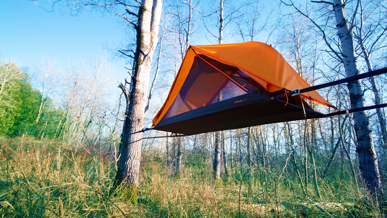 This lightweight tent has a flat, stable sleeping surface that can be suspended between two trees like a hammock.