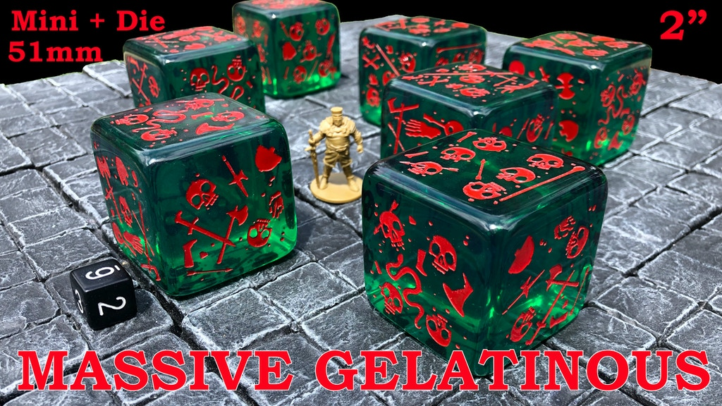 Massive Gelatinous Cube - 51mm Mini and Die - Six-Sided Dice project video thumbnail