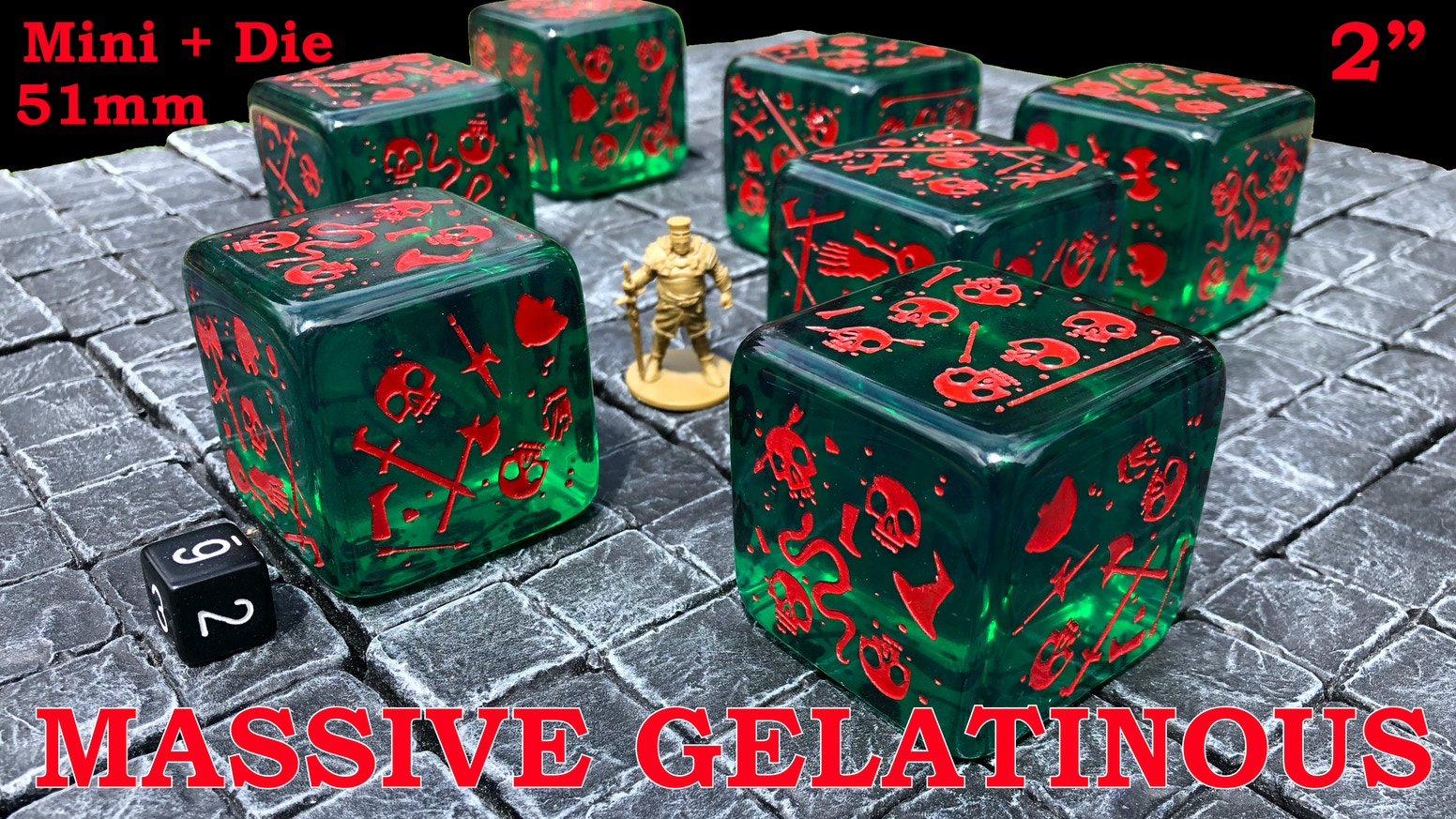 The pips (dots) are skulls on this 2 inch (51mm) gelatinous cube mini that is also a six-sided die (D6).