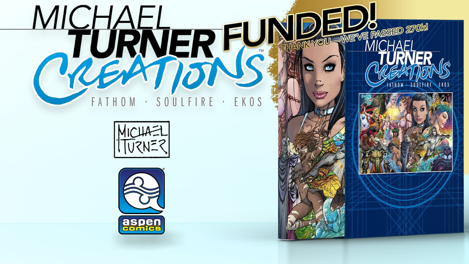 An over-sized Hardcover Graphic Novel featuring comic legend Michael Turner's three original creations, FATHOM, SOULFIRE and EKOS.