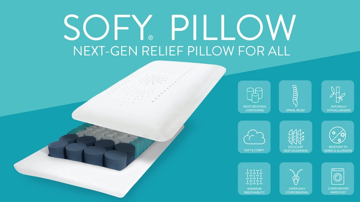 Deep & Restorative Sleep with SOFY® Pillow's Multi-Regional Contouring Technology, Germ-Resistance, Air Circulation, and more benefits!