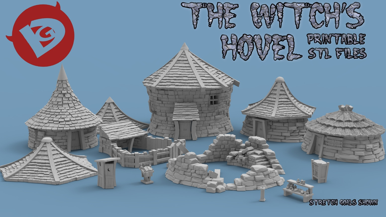 3D Print your own Witch's Hovel. Two storied and a little ramshackle but what else would you expect from a witch!