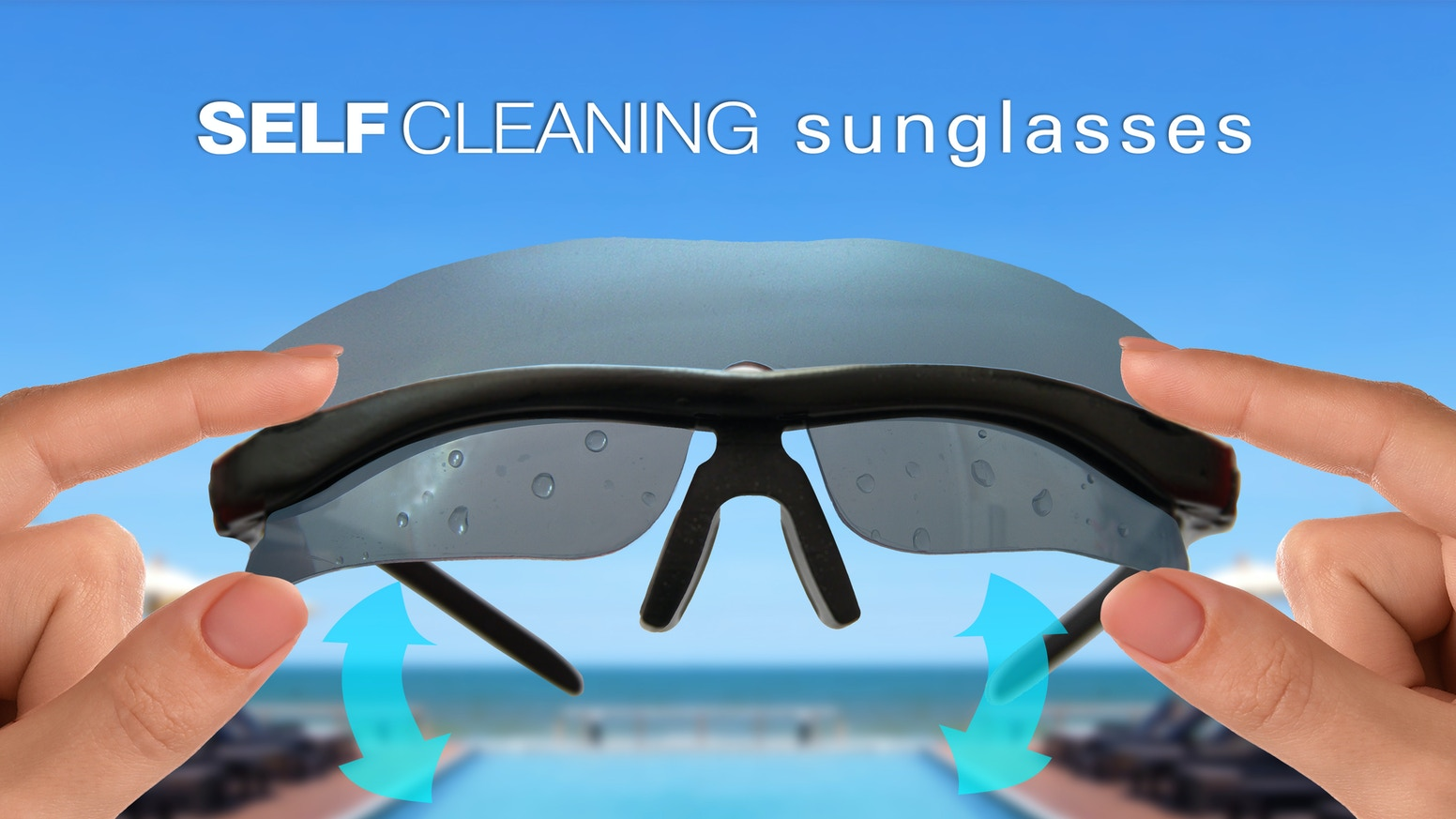 Sunglasses that can clean themselves when they get dirty. Just a few flicks to make the lens clean and clear.