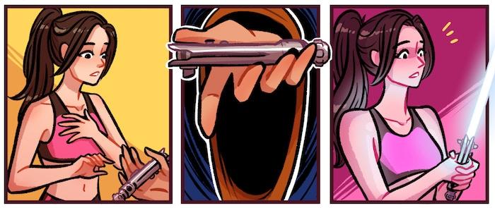 Ahsoka Tano's lightsaber handed from Azmi to Ixora of Scalemail & Ixora in SingaHeroes, the singaporean superhero comic anthology.