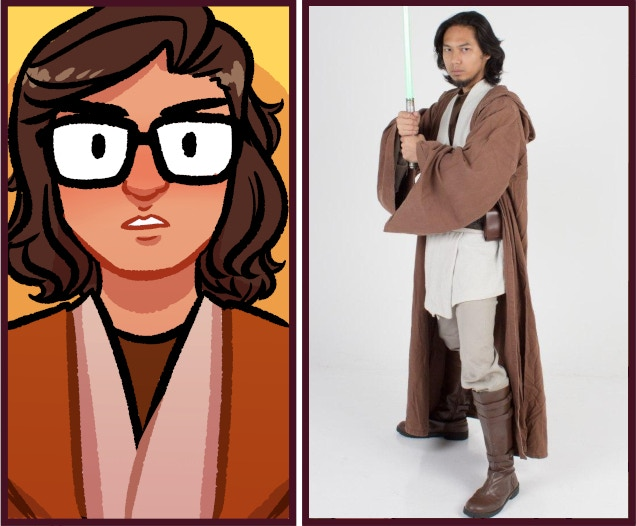 Azmi Danuri, founder of Fightsaber dressed as Obi-Wan, much like how he appears in the comic panels of Scalemail & Ixora in SingaHeroes, the singaporean superhero comic anthology.