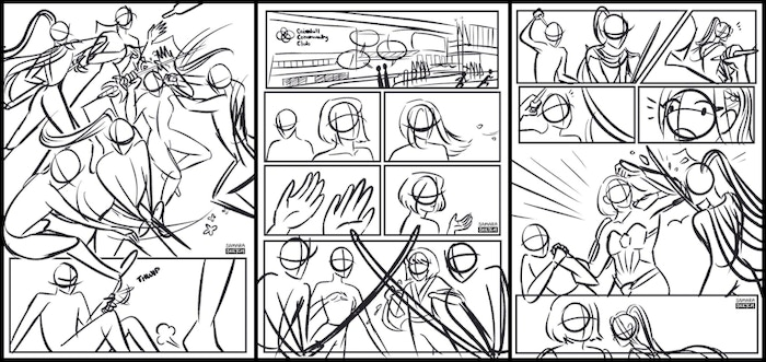 Thumbnails of Scalemail and Ixora's story in SingaHeroes, a Singaporean comic book anthology.