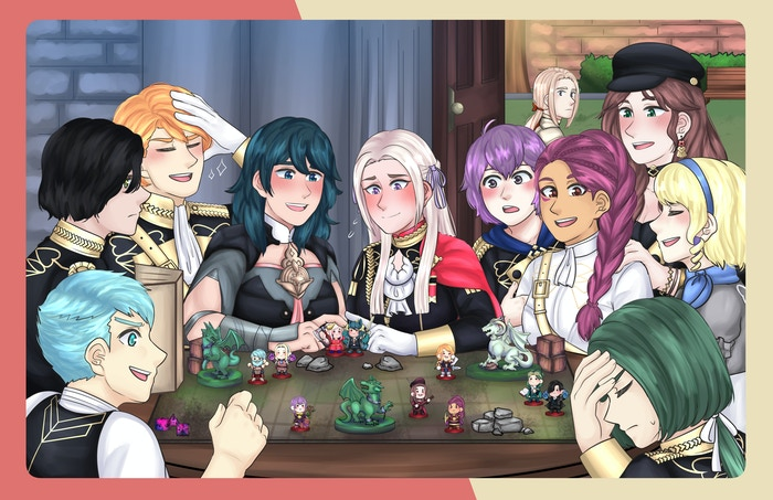 A loot box around the characters in the Black Eagles House of the Fire Emblem 3 Houses video game, centering on Edelgard and F!Byleth.
