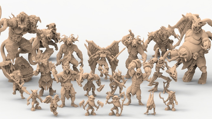 27 3D printable STL Monsters and Demons for your gaming table!