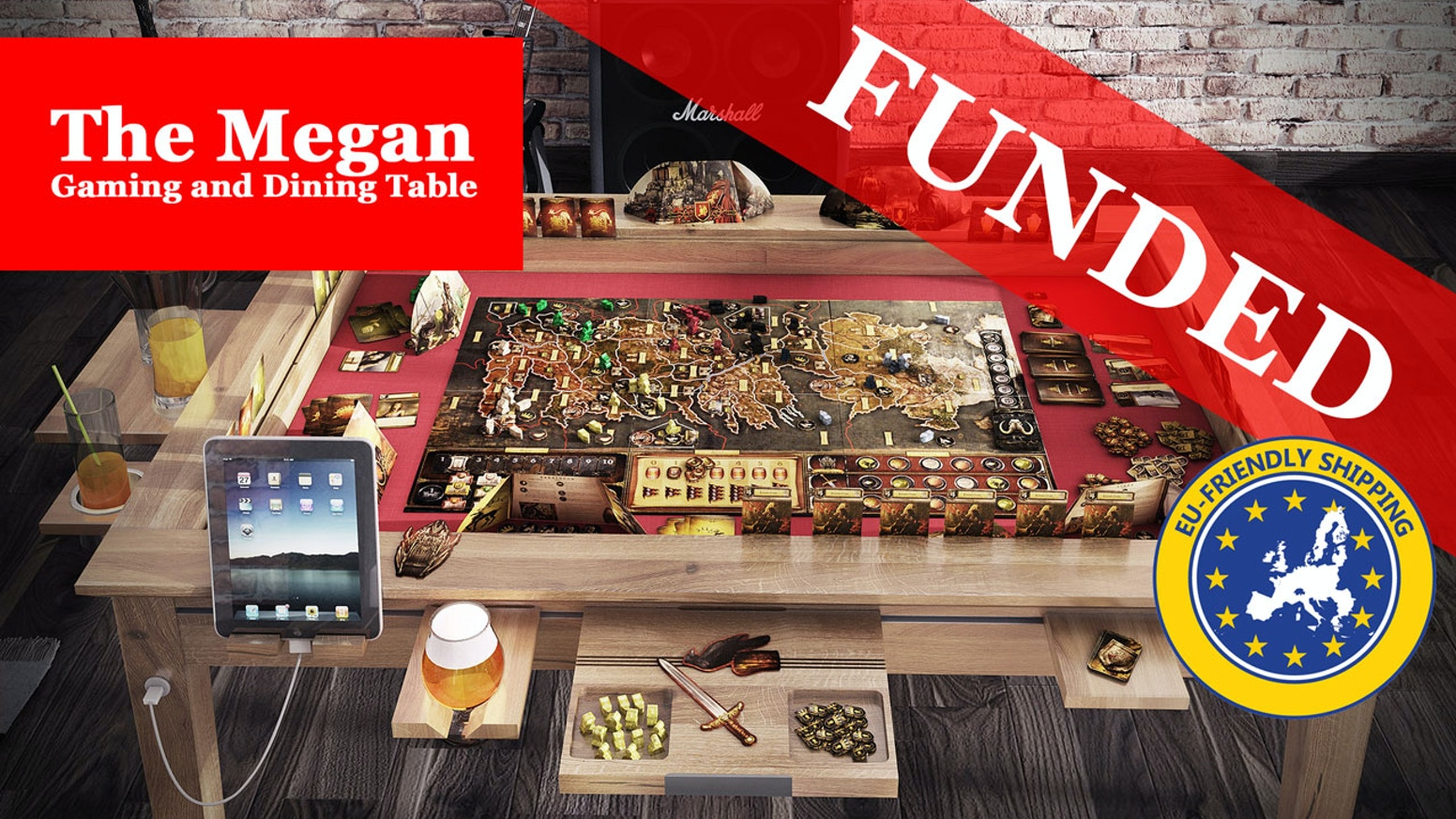 This project is about the gaming table - Megan. If you missed the main campaign, do not worry, you can still purchase an amazing Megan Gaming Table via the late pledge manager.
