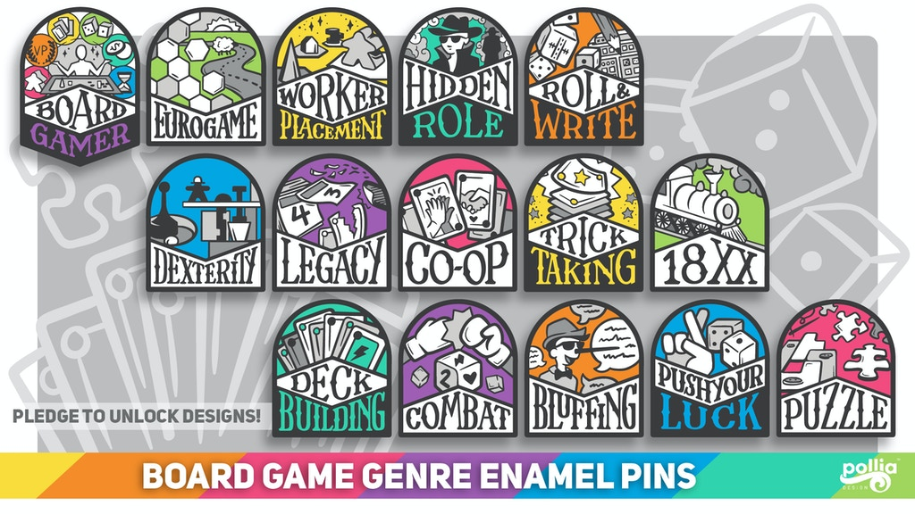 Project image for Board Game Genre Enamel Pins