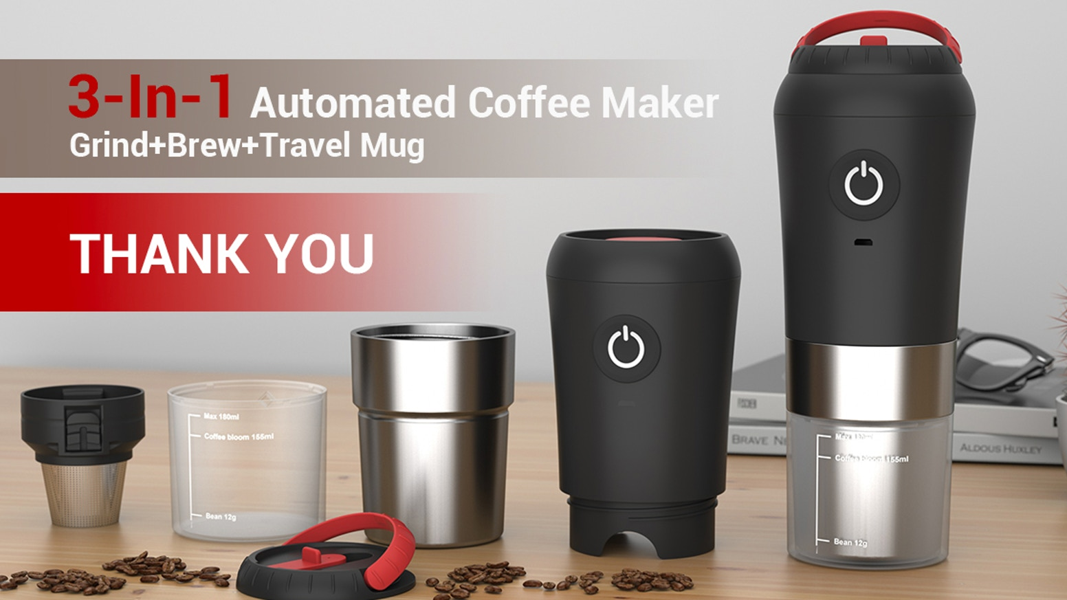 Rechargeable 3-in-1 coffee maker makes fresh ground coffee anywhere with one-touch auto-grind & brew & travel mug.