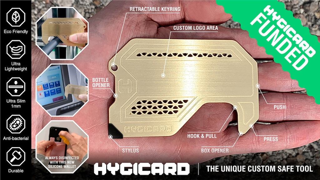 HYGICARD Antimicrobial Brass EDC Tool Pull Push Touch Stylus project video thumbnail