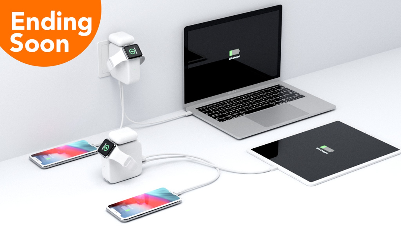 Sweet & Small USB-C Charger & powerbank for your iPhone, Apple Watch, MacBook, AirPods & more wirelessly and wired at the same time