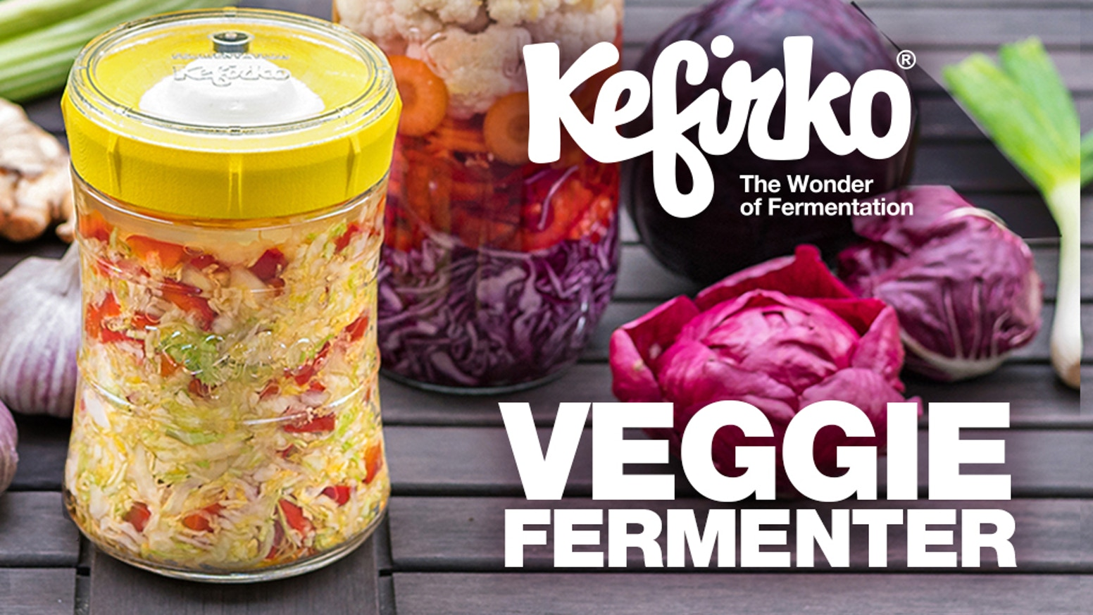 Ferment mixed veggies, sauerkraut, kimchi, or any other vegetable in your kitchen!