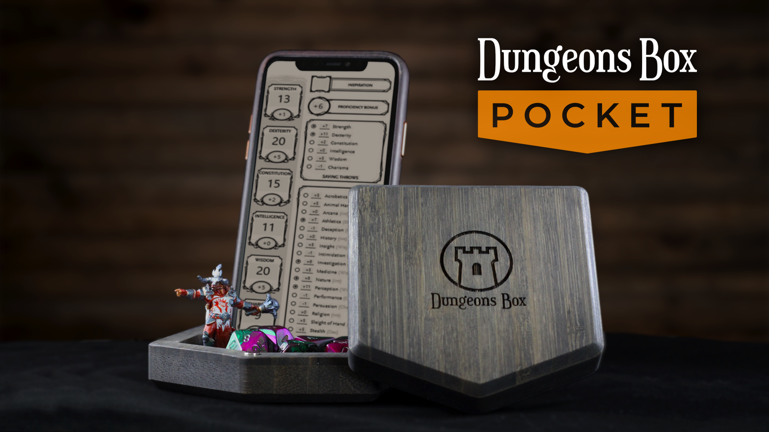 Your all-in-one D&D travel case! Complete with built-in phone stand, dice/miniature vault & rolling tray. Adventure anywhere!