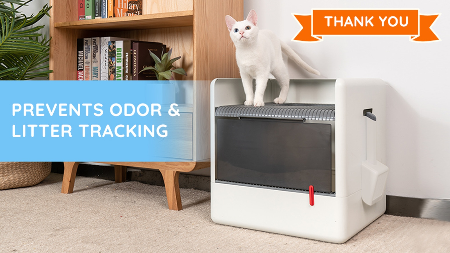 No Tracking | No Odor | Closed & Minimalist Design | Pet-friendly | All Cat Sizes & Ages | Elizabethan Collar Compatible