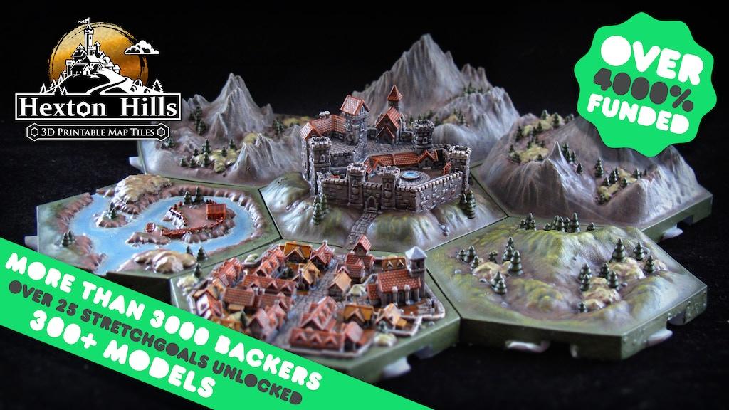 Hexton Hills: 3D-printable campaign map tiles project video thumbnail