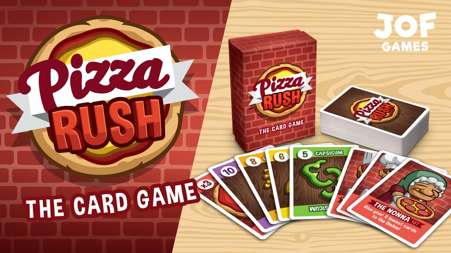 Pizza Rush is a cheeky and easy-to-learn strategy card game for players of all ages and all levels of strategic skill.