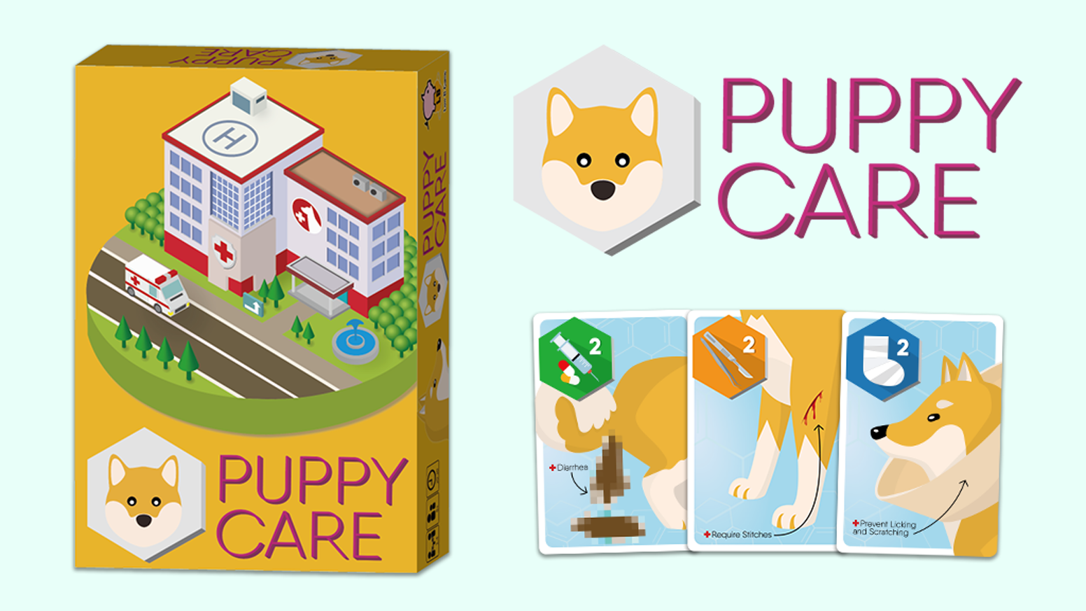 Puppy Care is a 2-4 players card game for family and friends about treating sick PUPPIES!