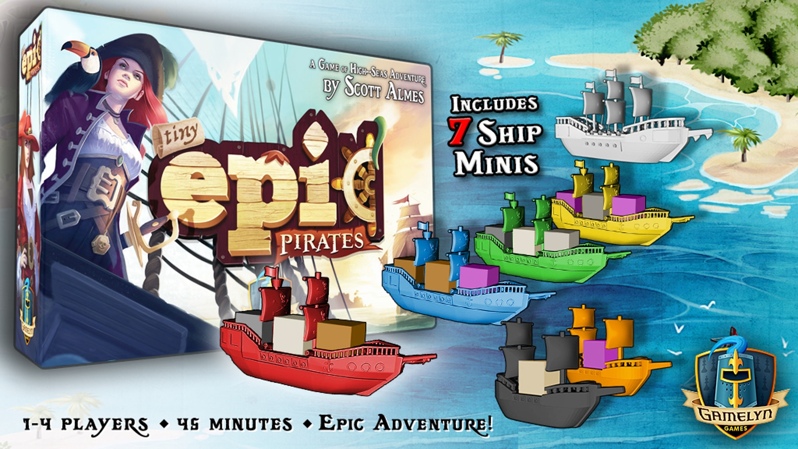 A high-thrills pirate game for 1-4 players featuring a unique rondel system, ship minis and language independent play!  It's Tiny Epic!