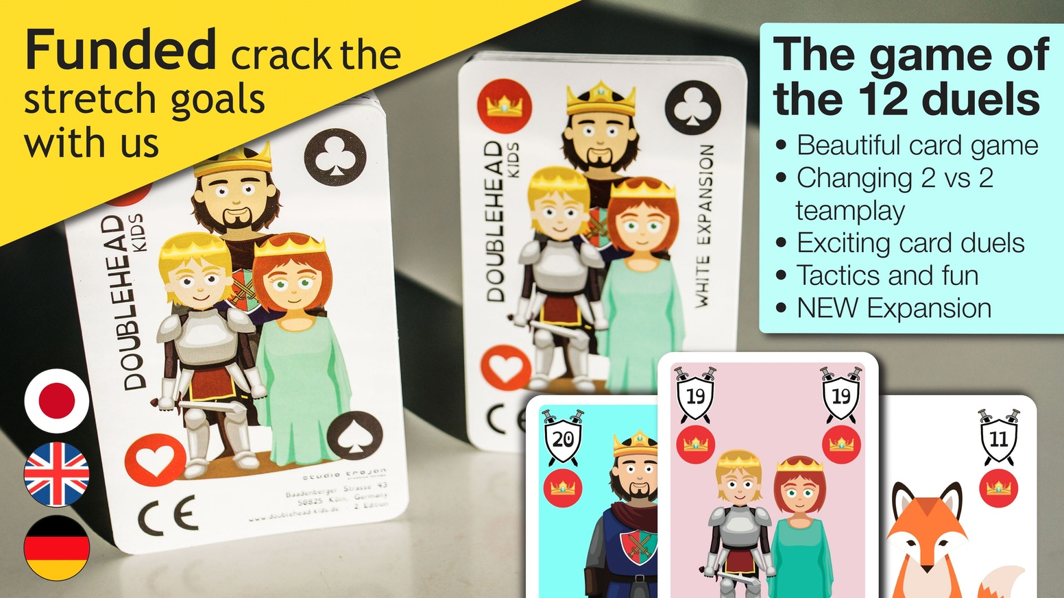 Changing 2 vs 2 teamplay - popular German trick-taking card game Doppelkopf newly interpreted in a family-friendly version