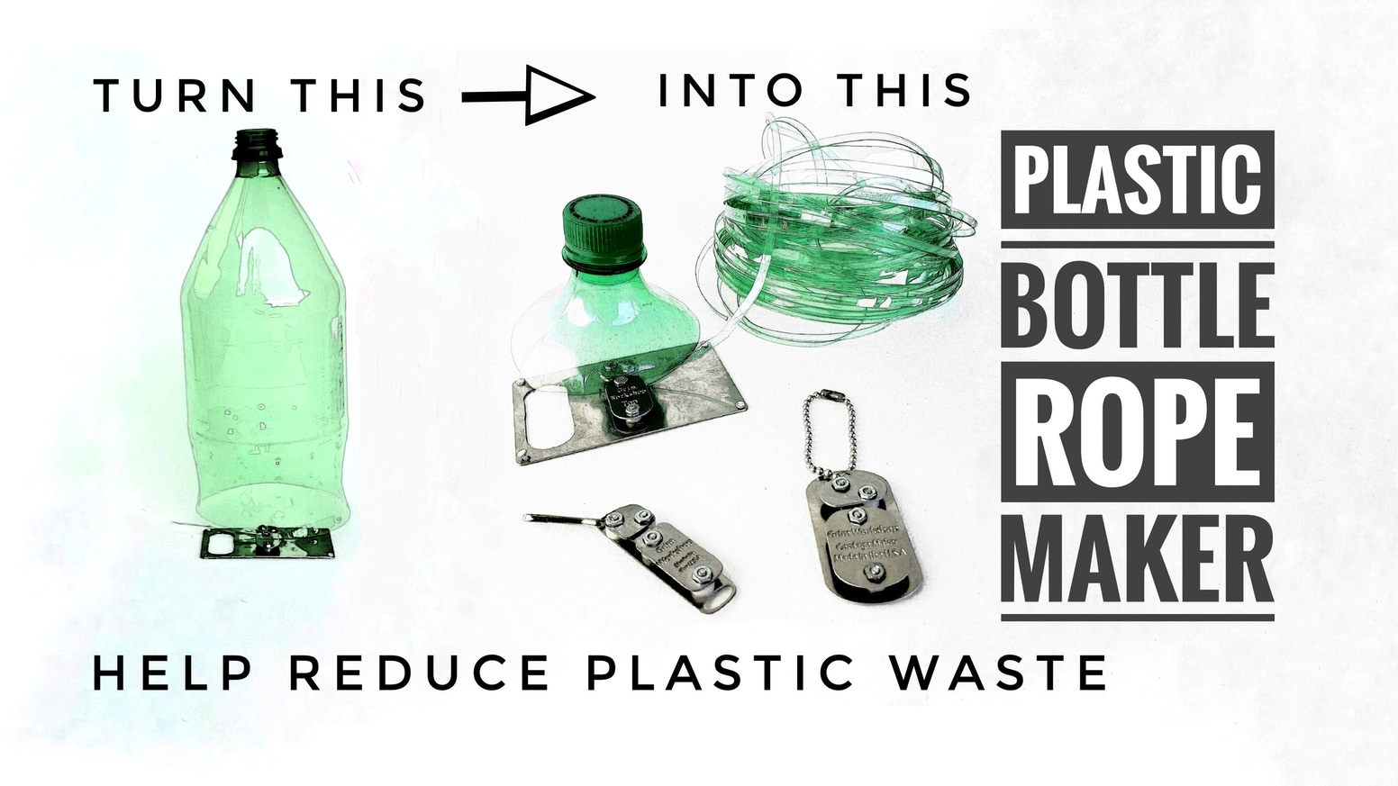 This pocket sized tool turns a plastic bottle into over 50 feet of incredibly strong rope keeping plastic bottles out of landfills