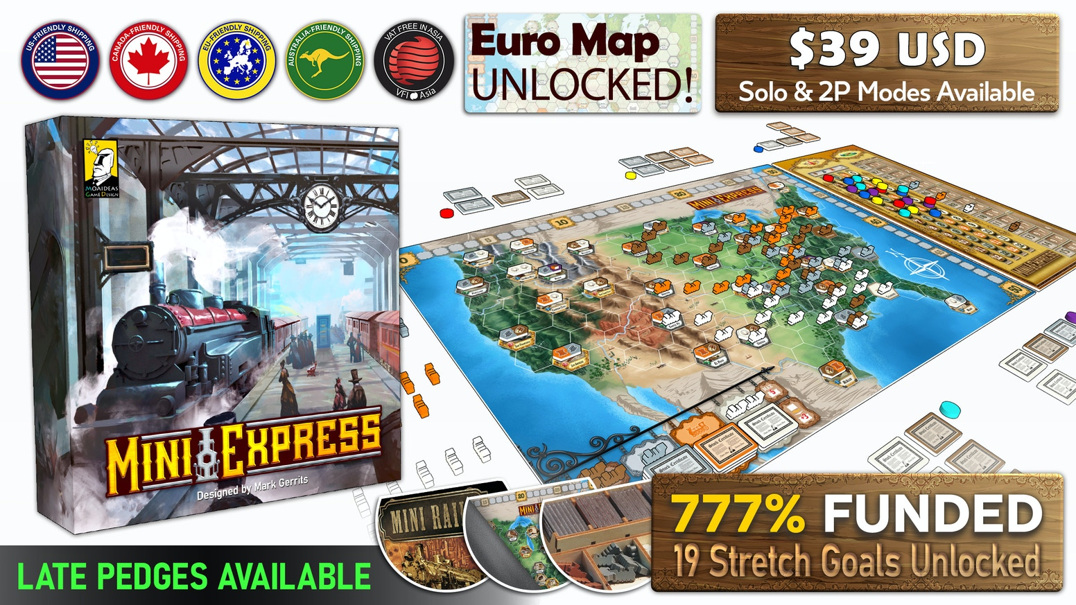 �An 18XX-lite board game, combining simple mechanics with deep strategic interaction, all in a beautiful package.